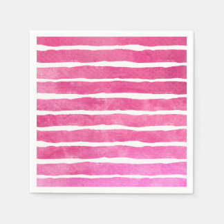 Watercolor Pinks Striped - All Options Disposable Napkins