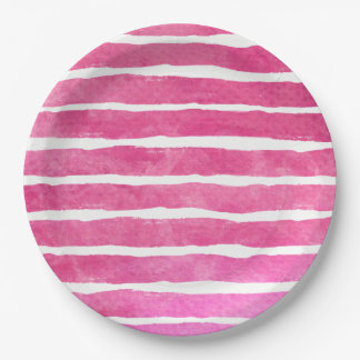 Watercolor Pinks Striped - All Options Paper Plate