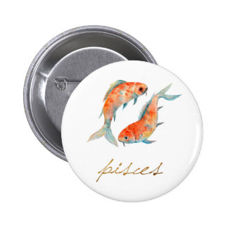 Watercolor Pisces Fish 2 Inch Round Button