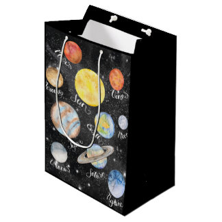 Watercolor Planets Names Medium Gift Bag