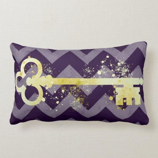 Watercolor Plum Purple & Gold Ornate Key Chevrons Lumbar Pillow