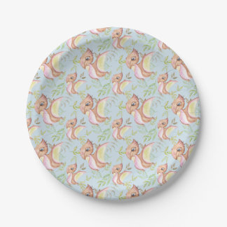 Watercolor Png Dinosaur Hand Drawn Illustration Paper Plate