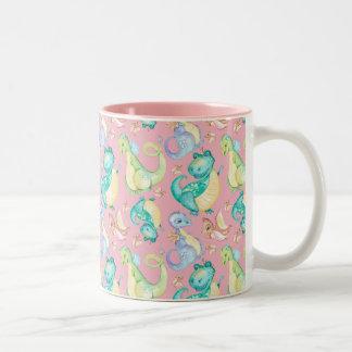 Watercolor Png Dinosaurs Hand Drawn Illustration Two-Tone Coffee Mug