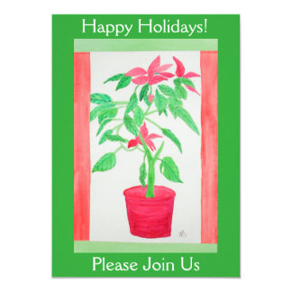 Watercolor Poinsettia Card