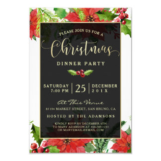 Watercolor Poinsettia Christmas Dinner Party Card