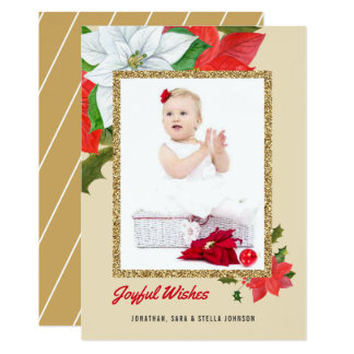 Watercolor Poinsettia Faux Gold Glitter Christmas Card