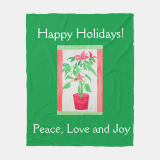 Watercolor Poinsettia Fleece Blanket