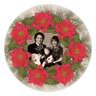 Watercolor Poinsettia Wreath with Your Photo Card