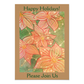 Watercolor Poinsettias and Beads on Christmas Tree Card