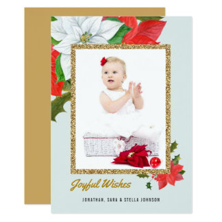 Watercolor Poinsettias Faux Glitter Blue Christmas Card