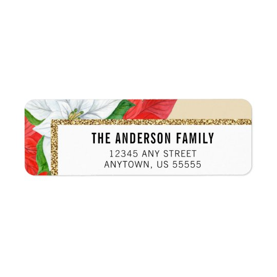 Watercolor Poinsettias Faux Glitter Gold Christmas Return Address Label