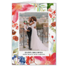 Watercolor Poinsettias | Floral Holiday Photo Card