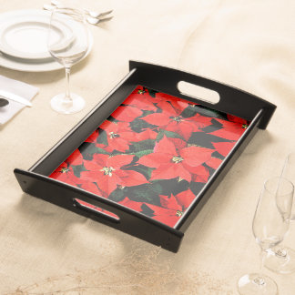 Watercolor Poinsettias on Black Background Serving Tray