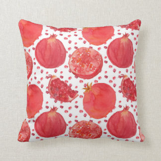 Watercolor Pomegranate Fruit Throw Pillow