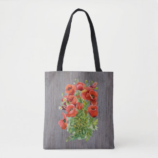 Watercolor Poppies All-Over-Print Tote Bag