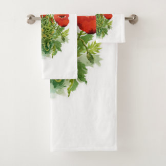 Watercolor Poppies Bathroom Towel Set
