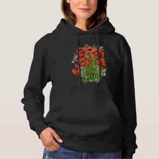 Watercolor Poppies Black Hoodie