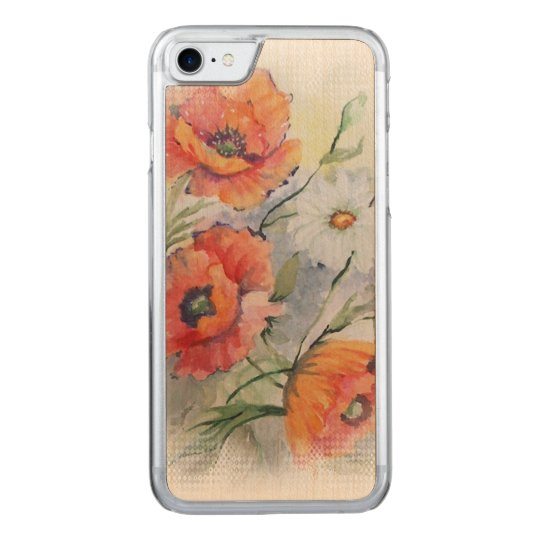Watercolor poppies carved iPhone 7 case