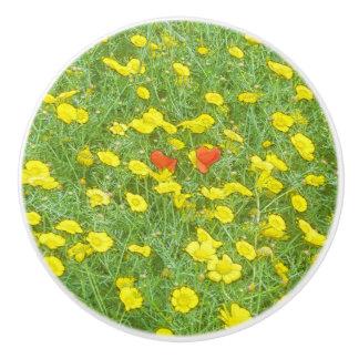Watercolor poppies ceramic knob