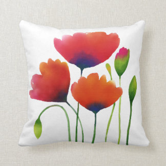 Watercolor Poppies Design - Personalized Quote! Throw Pillow