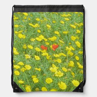 Watercolor poppies drawstring bag