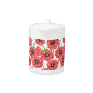 Watercolor poppies floral pattern