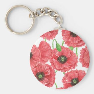 Watercolor poppies floral pattern basic round button keychain