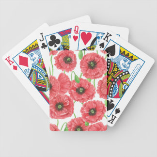 Watercolor poppies floral pattern bicycle playing cards