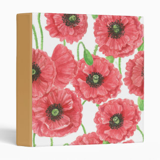 Watercolor poppies floral pattern binder