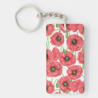Watercolor poppies floral pattern Double-Sided rectangular acrylic keychain