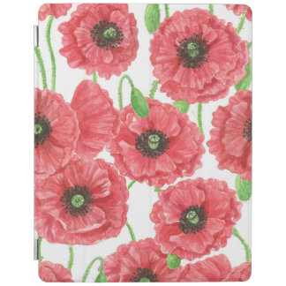 Watercolor poppies floral pattern iPad cover
