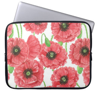 Watercolor poppies floral pattern laptop sleeve