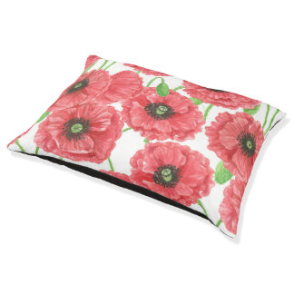 Watercolor poppies floral pattern large dog bed