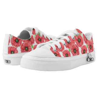 Watercolor poppies floral pattern Low-Top sneakers