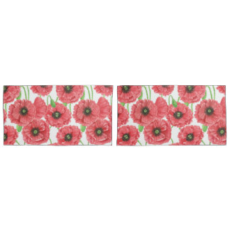 Watercolor poppies floral pattern pillowcase