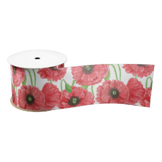 Watercolor poppies floral pattern satin ribbon