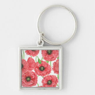 Watercolor poppies floral pattern Silver-Colored square keychain