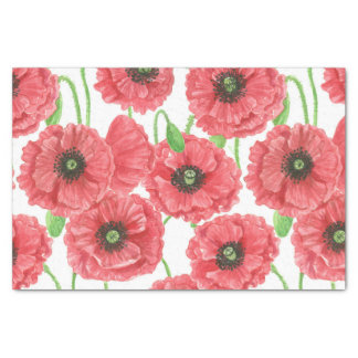 Watercolor poppies floral pattern tissue paper