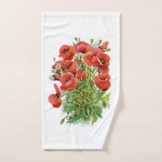 Watercolor Poppies Hand Towel
