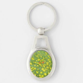 Watercolor poppies keychain