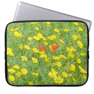 Watercolor poppies laptop sleeve