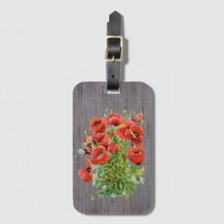 Watercolor Poppies Luggage Tag