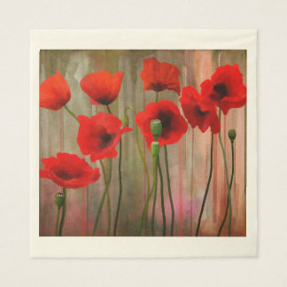 Watercolor Poppies Paper Napkins