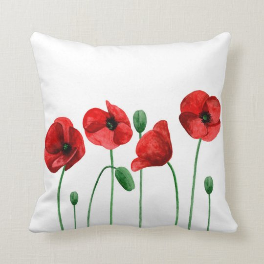 Watercolor poppies pillow. Red flowers. Botanical Throw Pillow