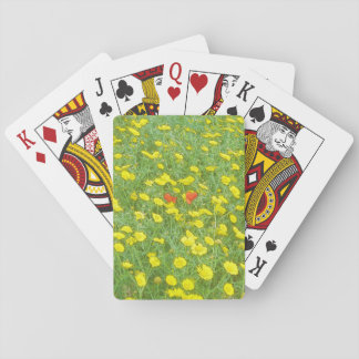 Watercolor poppies playing cards