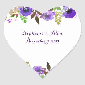 Watercolor Poppies Purple Green Wedding Stickers
