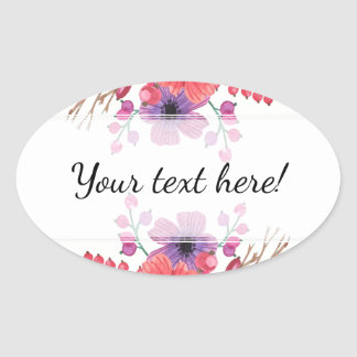 Watercolor Poppies & Rose Buds Oval Sticker