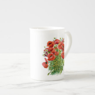 Watercolor Poppies Tea Cup
