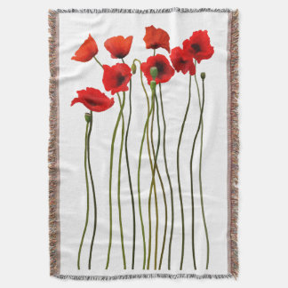 Watercolor poppies throw blanket