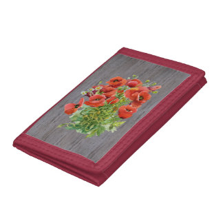 Watercolor Poppies TriFold Nylon Wallet